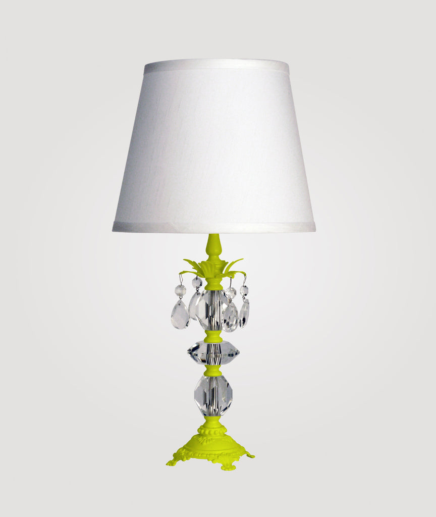 Berlin Small neon yellow with clear crystals & Countess white linen shade
