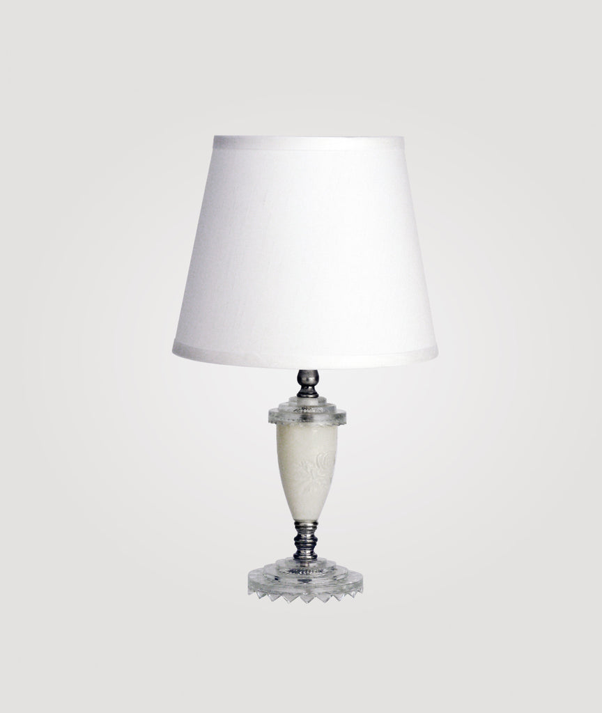 Florence Small clear and off-white glass & Countess white linen shade