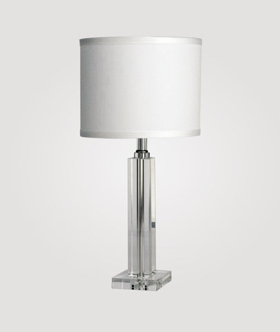 London Small clear crystal prism & Dame white linen shade