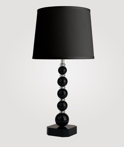 Milan Medium black crystal & Countess black linen shade