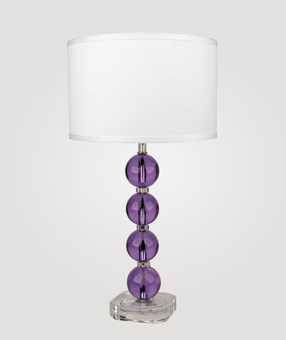 Milan Medium lavender crystals & Dame white linen shade