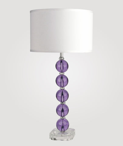 Milan Tall lavender crystals & Dame white linen shade