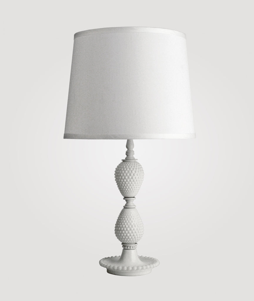 Milk Medium hobnail milk glass & Countess white linen shade