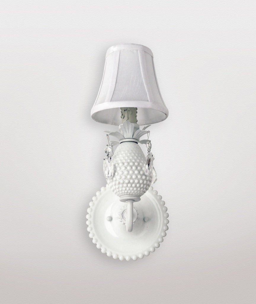 Moon hobnail milk glass & Duchess white silk shade