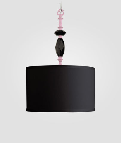 Octavia gloss pink with black crystals & Dame black linen shade