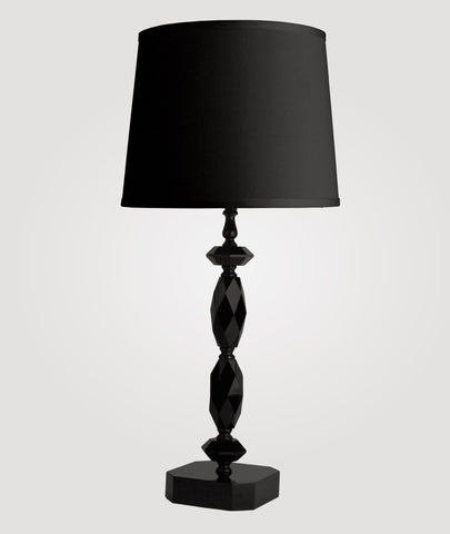 Paris Medium black crystal & Countess black linen shade