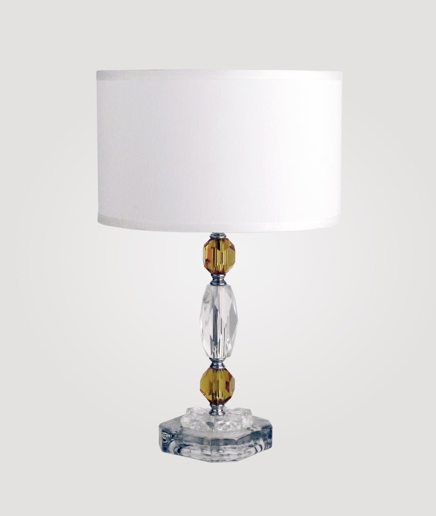 Rio Amber crystal and glass & Dame white linen shade