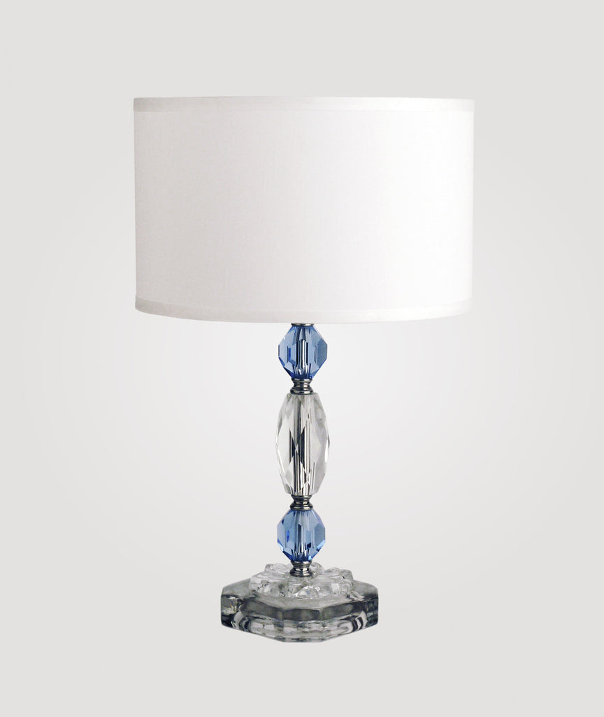 Rio Blue crystal and glass & Dame white linen shade