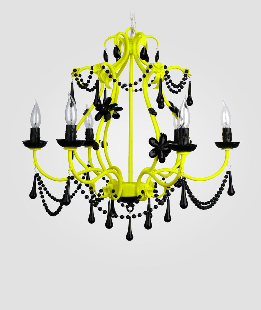 Sonja neon yellow with black crystals