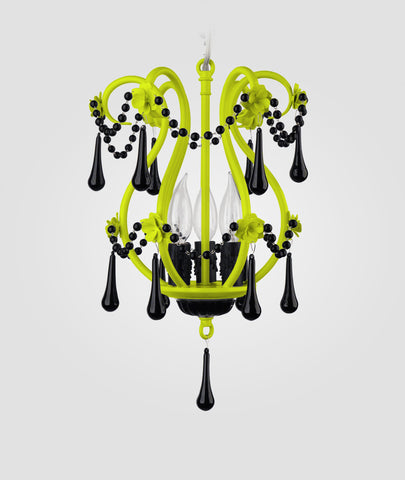 Tiffany neon yellow with black crystals