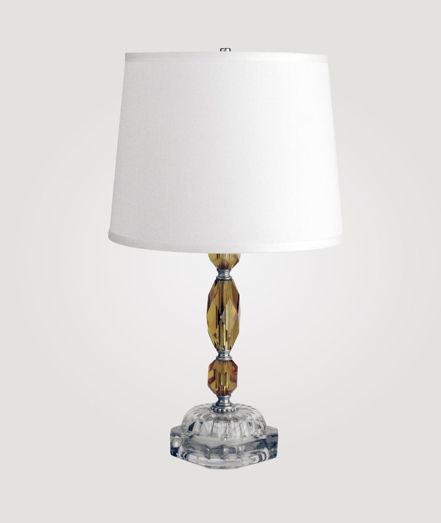 Venice Amber crystal and glass & Countess white linen shade