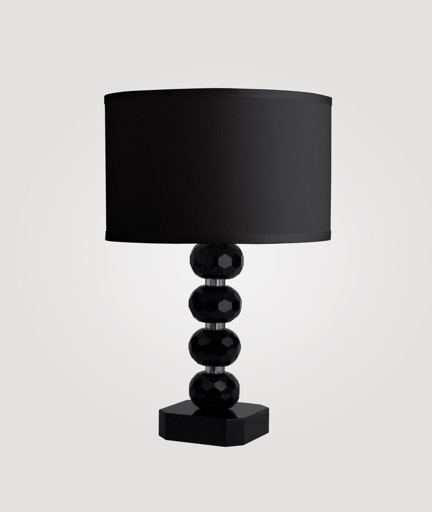 Vienna Medium diamond-cut black crystal & Dame black linen shade