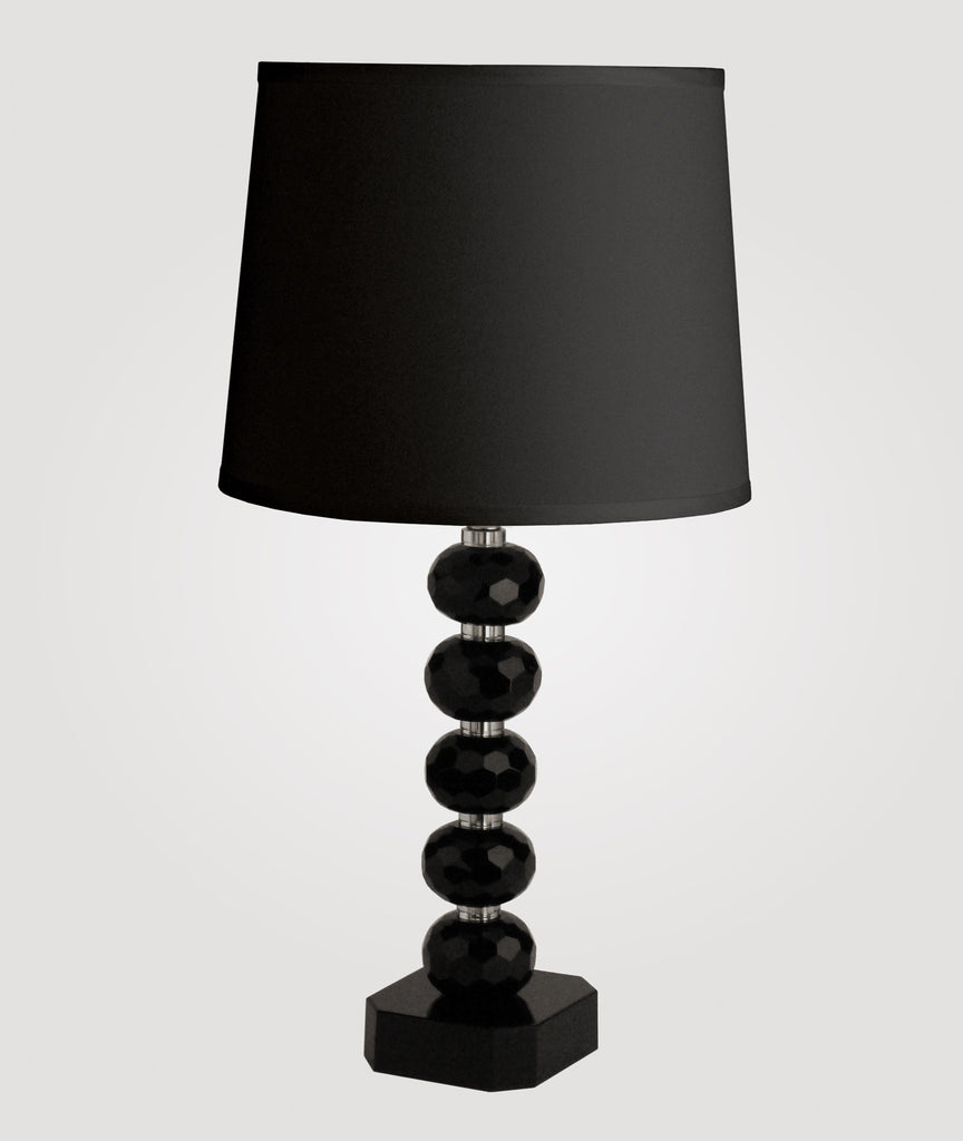 Vienna Tall diamond-cut black crystal & Countess black linen shade