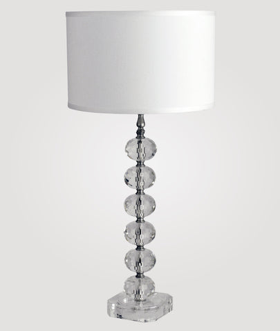 Vienna Tall diamond-cut clear crystal & Dame white linen shade