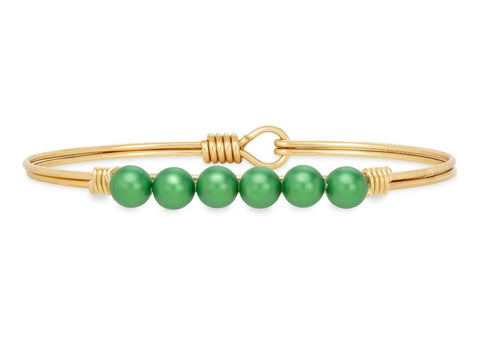 Luca+Danni Crystal Pearl Bangle Bracelet in Shamrock
