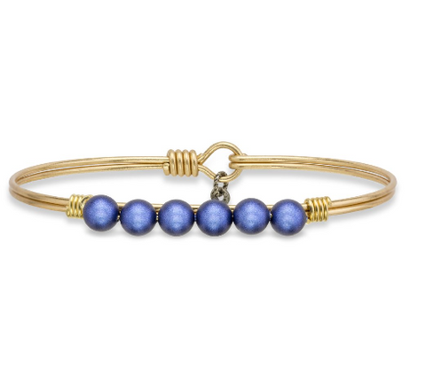 Luca+Danni Blue Lapis Pearl Bangle Bracelet