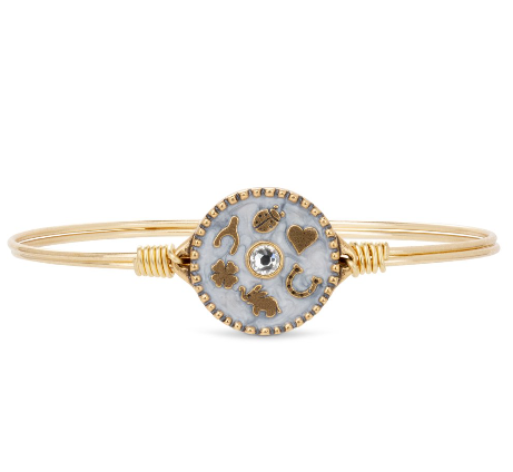 Luca+Danni Good Fortune Bangle Bracelet in Pearl Grey