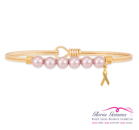 Luca+Danni Breast Cancer Crystal Pearl Bangle Bracelet