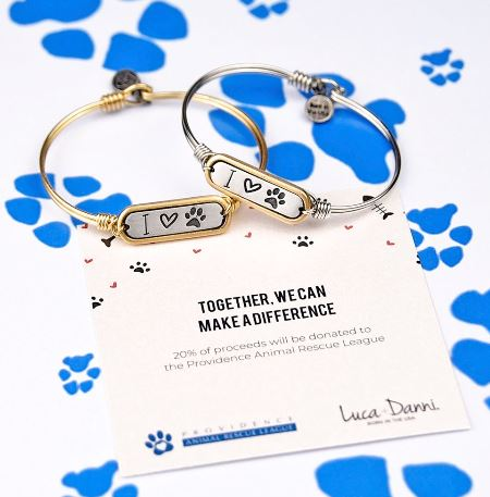 Luca+Danni I Love Paw Print Bangle Bracelet