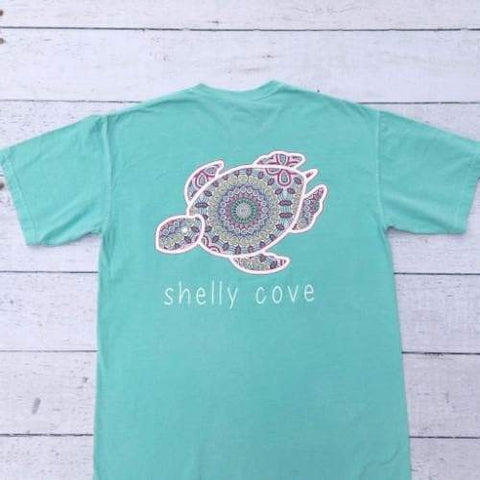 Summer Boho Shelly Mandala  Short Sleeve T-shirt in Turquoise Chalky Mint