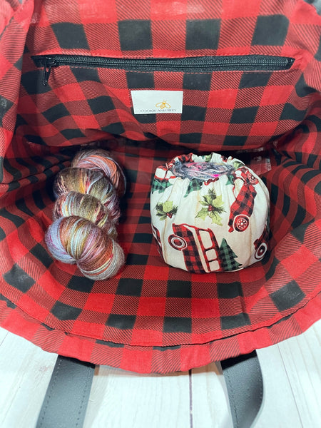 Vintage Plaid Large Handled Drawstring Bag  | Cookie and Bees