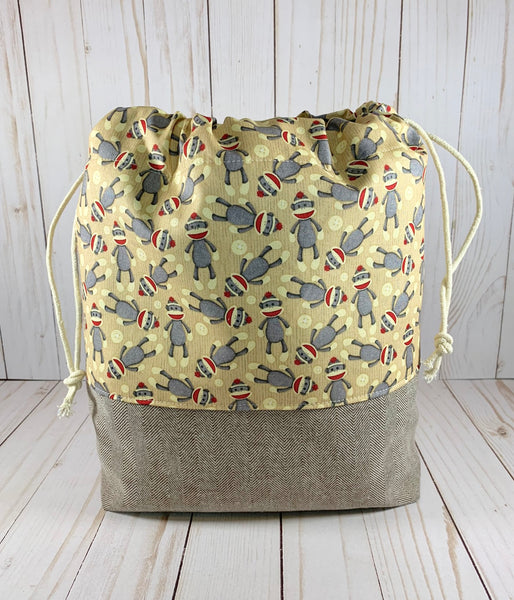 Sock Monkey Large Drawstring Bag | Cookie and Bees