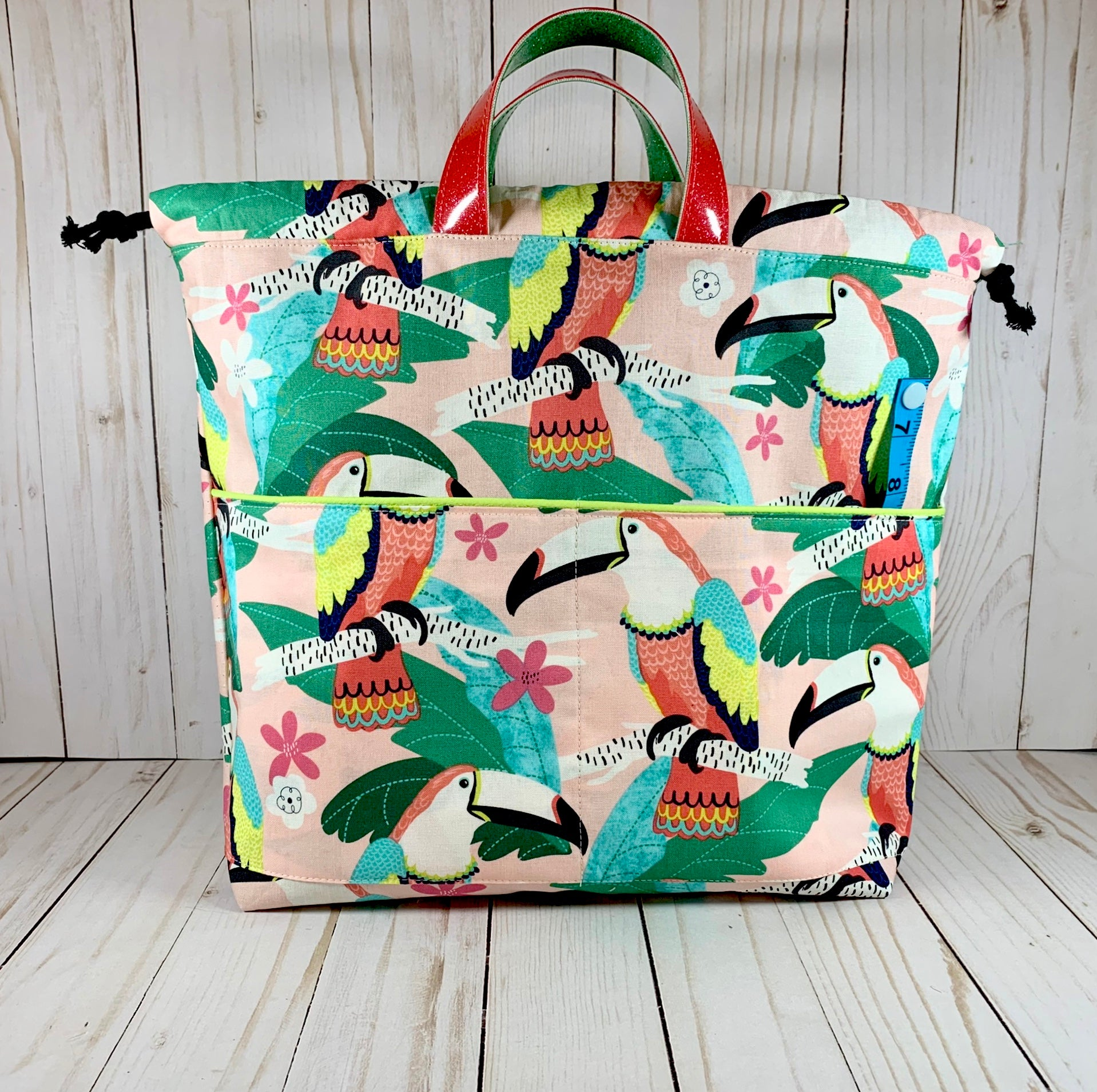 Macaw Large Handled Drawstring Bag | Cookie and Bees