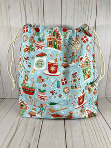 Cookies and Cocoa Large Drawstring Bag  | Cookie and Bees