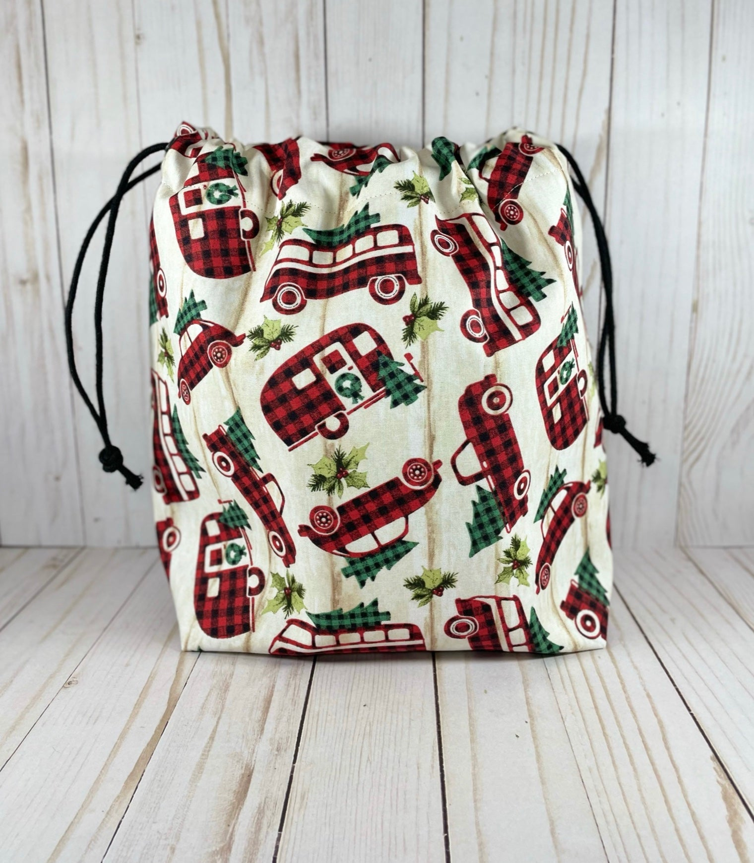 Vintage Plaid Large Drawstring Bag  | Cookie and Bees