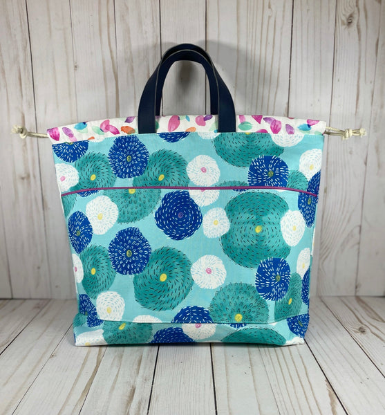 Globe Thistle Large Handled Drawstring Bag | Cookie and Bees