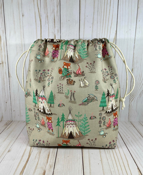 Fire Fox Large Drawstring Bag | Cookie and Bees
