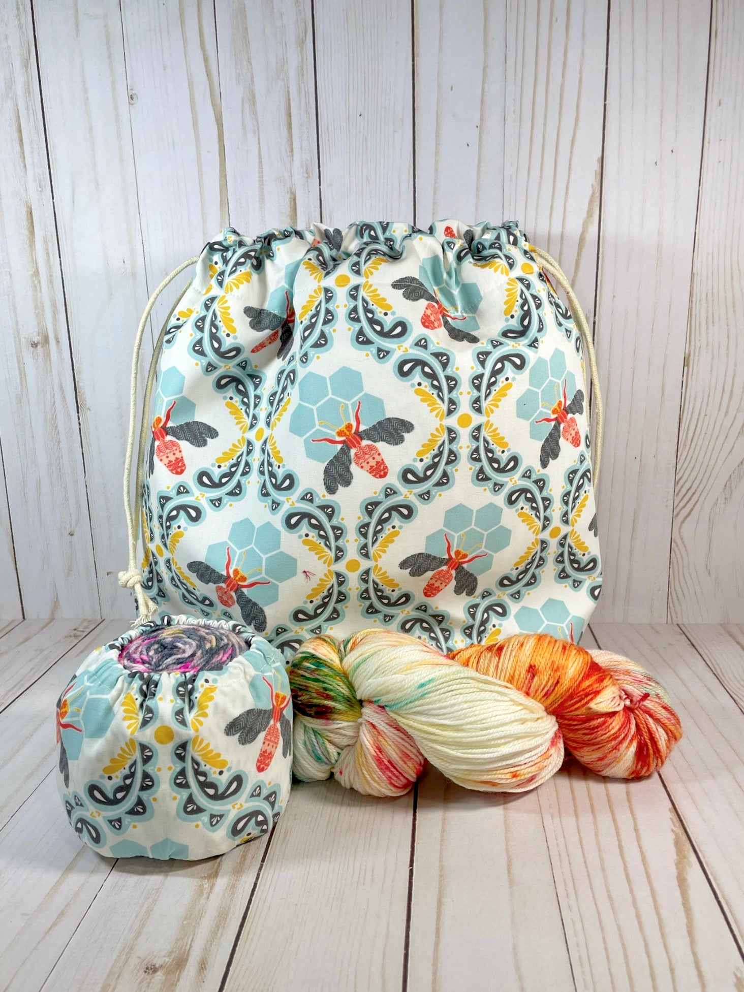 Sweet as Honey Large Drawstring Bag | Cookie and Bees