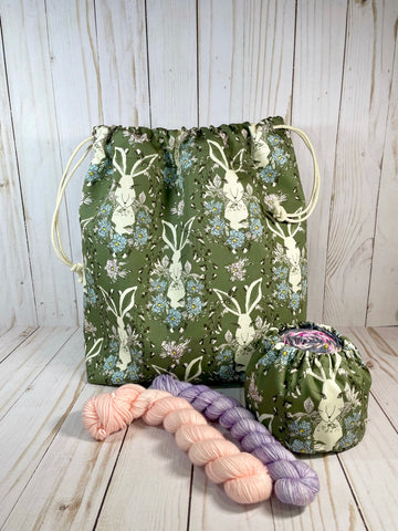 Hare to the Throne Large Drawstring Bag | Cookie and Bees