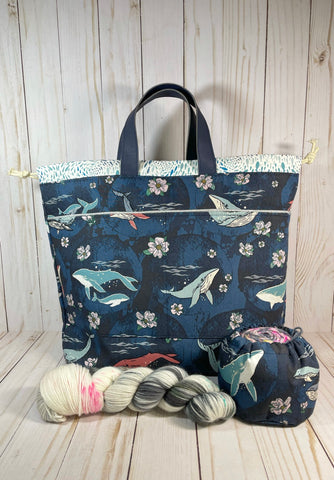 Deep Sea Large Handled Drawstring Bag | Cookie and Bees