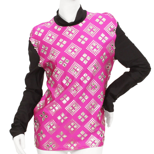 Full length view of mannequin wearing a Jean Paul Gaultier fuchsia & black mock neck long sleeve shirt with diamante mirror embellishments.