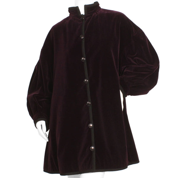 Yves Saint Laurent 1970s Purple Velvet Opera Coat