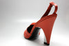 Charles Jourdan 1980s Coral Satin / Leather Pumps