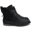 Black Suede 1990s Elastic Lace Up Ankle Boots