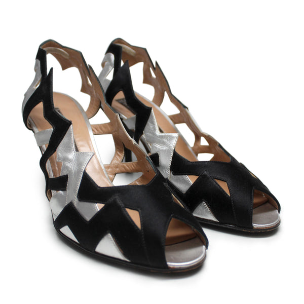 Maude Frizon 1980s Black & Silver Satin Evening Sandals