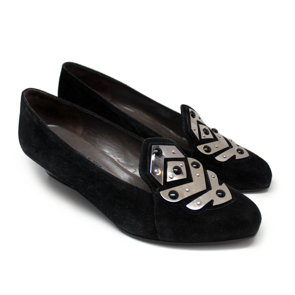 Charles Jourdan 1980s Black Suede Shoes with Unique Chrome Embellishment