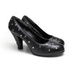 Norma Kamali 1980s Black Leather Studded Pump