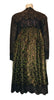 long-sleeve, tent-style, knee-length dress with a combination of lace & leopard-print jacquard in greens, brown and gold.