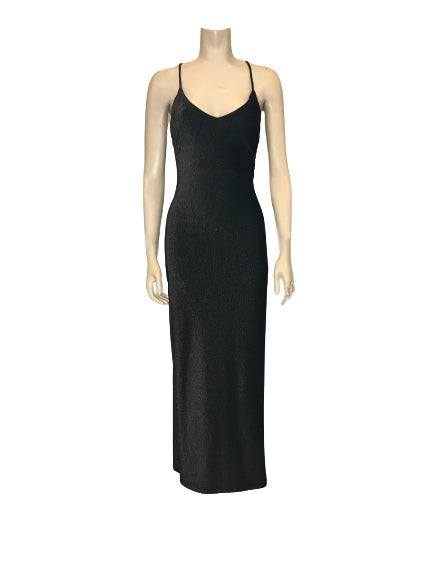 Black/silver, shimmery, form-fitting maxi-dress with spaghetti straps.