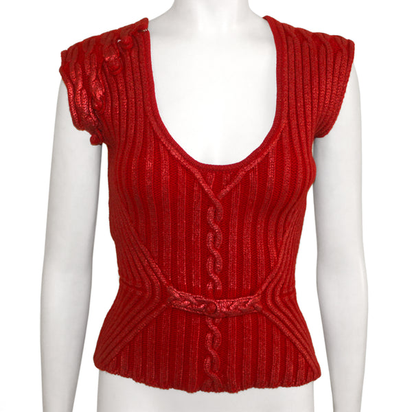 Yves St Laurent Wool Metallic Knit Top
