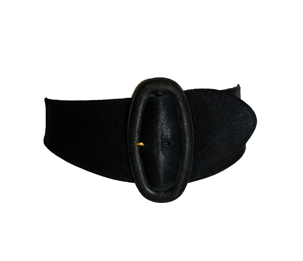 Wide black  leather belt  with matching buckle. Belt narrows in the back