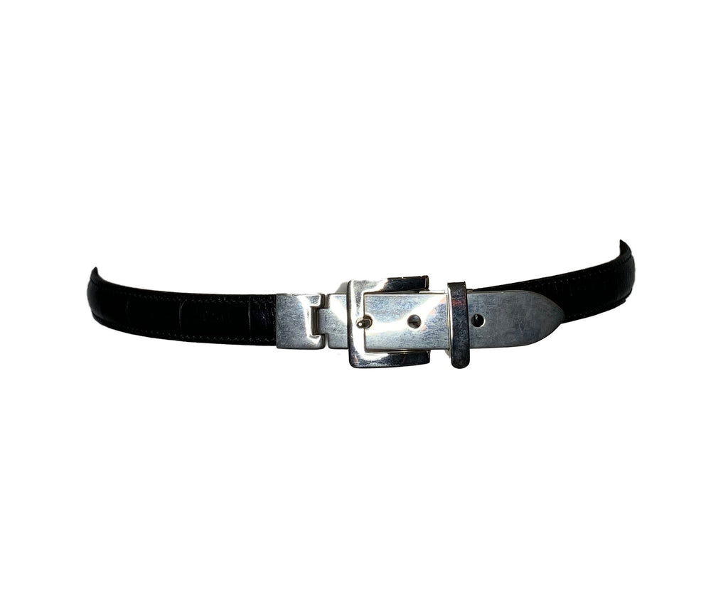 Black leather belt with silver tone metal fastening and buckle
