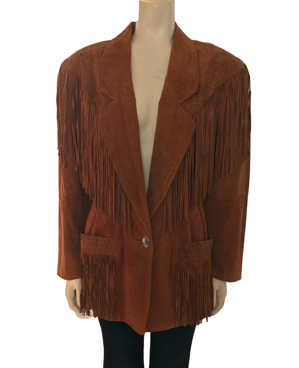 rust suede hip length jacket  with fringe on front and pockets. One silver button closure