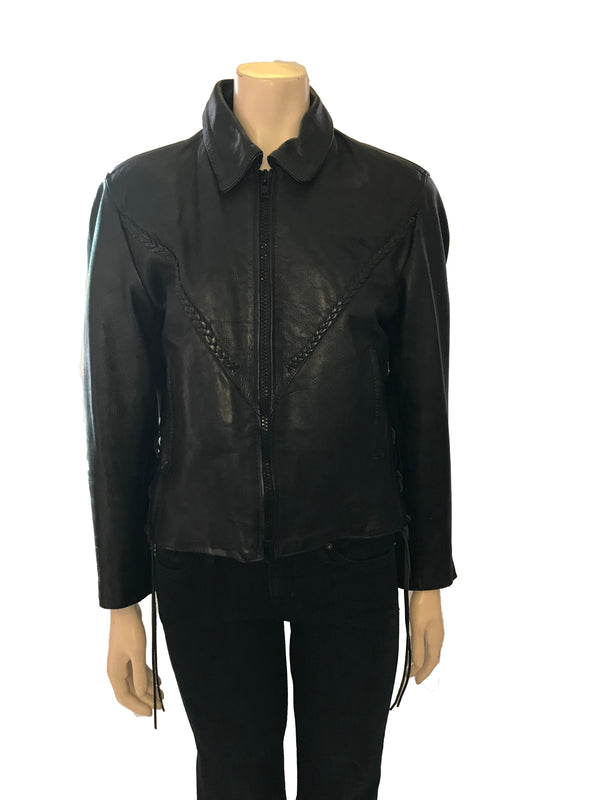 Black leather zip up jacket with pointed collar and braided leather detail across front.
