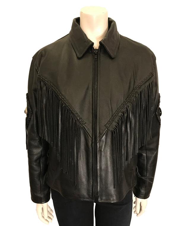 Black leather jacket with pointed collar, zipper front and long leather fringe across front. Additional decoration of silver tone metal concho discs.