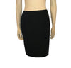 Front view of a simple black pencil skirt.